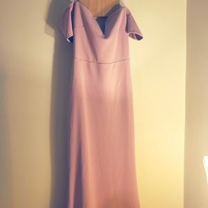 Off The Shoulder Maxi Dress Gown Blush Pink